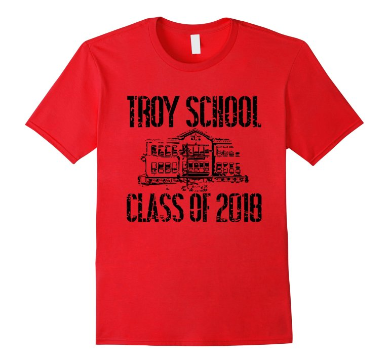 Troy School Class Of 2018 T Shirt Distressed Black Text mockup