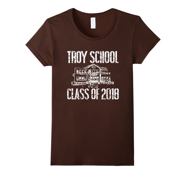 Troy School Class Of 2018 T Shirt Distressed White Text mockup